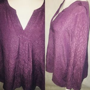 🍁J.Jill purple V-Neck tunic top blouse silk blend